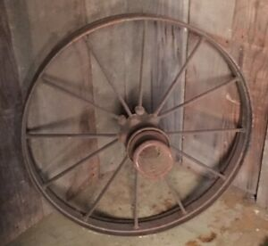 1 Antique Steel 30 12 Spoke Wagon Wheel Cast Iron Steel Hub