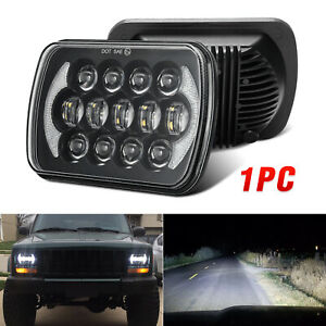 Dot 105w 5x7 7x6 Black Led Headlight H4 Hid Bulb For Jeep Cherokee Xj Yj H6054