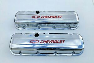 Chevrolet Bbc Chrome Steel Tall Valve Covers Red 65 95 396 502 Silk Screen Read