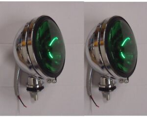 2pcs Six Inch 6 Green Lens Off Road Driving Fog Lights Chrome Housing