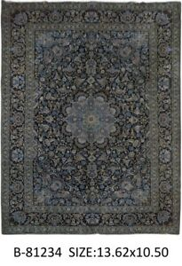 Midnight Blue Hand Knotted Rug Signed 11 X 14 Persian Kashan Oriental Rugs