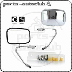 For 80 96 Ford Series Truck Pickup Pair Manual Stainless Steel Door Side Mirrors