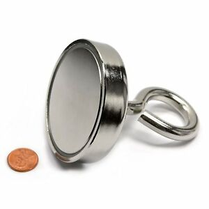Fishing Magnet 405 Lbs Super Strong Magnet Neodymium Round 0 7 Thick X 2 95