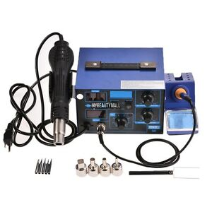 2 In 1 862d Smd Soldering Station Iron Hot Air Welder Rework W 4 Nozzle Led Esd