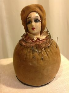 Vintage Brown Velvet Body Hat Half Lady Pin Cushion Germany