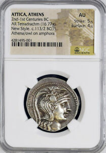 Ancient Coin C 113 12 Bc Attica Athens Ar Tetradrachm Au Ngc Greek 5 5 4 5