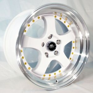 17x9 Mst Mt07 5x114 3 Et20 White W machined Lip Wheels set Of 4