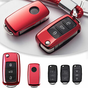 Red Soft Tpu Smart Key Cover Keyless Shell Fob Case For Vw Passat Golf Jetta New