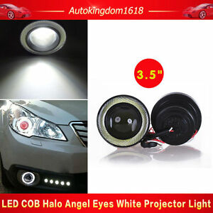 2x 3 5 Inch Cob Led Fog Light Projector White Angel Eyes Halo Ring Drl Lamp Usa