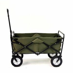 Shopping Basket Folding Cart On With Wheels Outdoor Utility Wagon Green