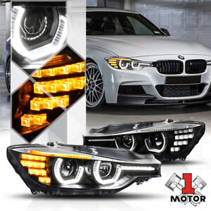 Black Dual 3d Halo Projector Headlight Led Signal For 12 16 Bmw F30 F31 3 Series