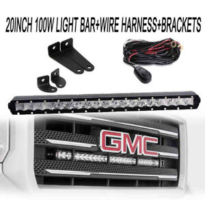 100w 20 Inch Single Row Straight Led Light Bar Offroad Driving Truck Boat Car