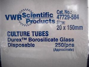 Vwr Glass 20 X 150mm Culture Tubes Borosilicate Disposable Approx 250 47729 584
