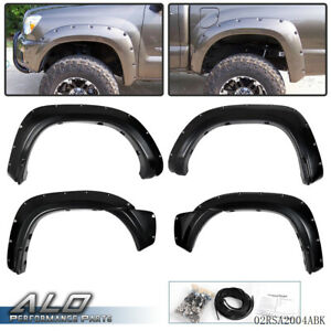 Pocket Rivet Wheel Fender Flares For 2012 2015 Toyota Tacoma Smooth Black