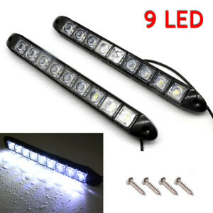 2 X 12v Bright White 9 Led Chrome Housing Daytime Running Lights Fog Lamps