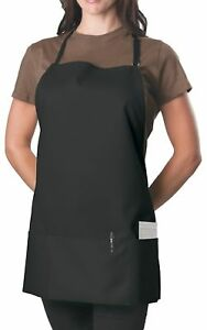 6 Pack Black Adjustable Bib Apron 3 Pocket 6 Pack New