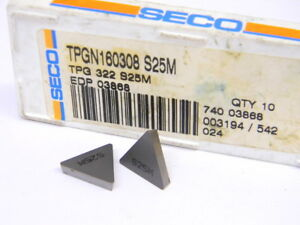 New Surplus 10pcs Seco Tpg 322 Grade S25m Carbide Inserts
