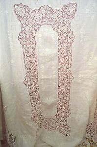 Vintage Antique Linen Tablecloth With Needle Lace Insertions Borders Ss475