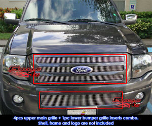 Fits 2007 2013 Ford Expedition Vertical Billet Grille Grill Insert Combo