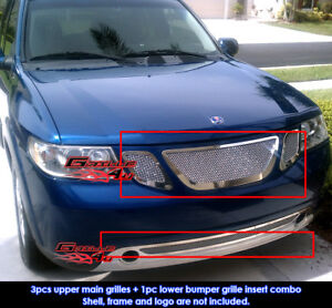 Fits 2007 2010 Saab 9 7x Stainless Steel Mesh Grille Combo