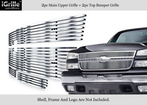 Fits 2006 Chevy Silverado 1500 2005 2006 2500hd Stainless Billet Grille Combo