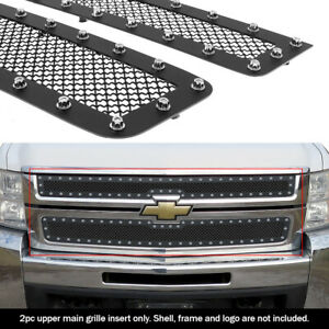 Fits 2007 2010 Chevy Silverado 2500 3500 Black Rivet Stainless Steel Mesh Grille