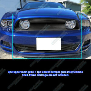 Fits 2013 2014 Ford Mustang Gt Black Billet Grille Combo