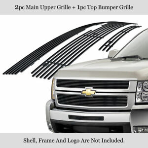 Fits 2007 2010 Chevy Silverado 2500hd 3500hd Stainless Black Billet Grille Combo