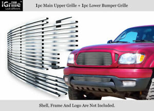 Fits 2001 2004 Toyota Tacoma 304 Stainless Steel Billet Grille Combo
