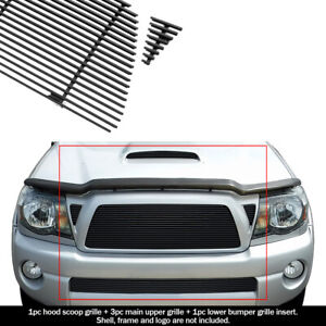 Fits 2005 2010 Toyota Tacoma Trd Sport Black Billet Grille Grill Combo Insert