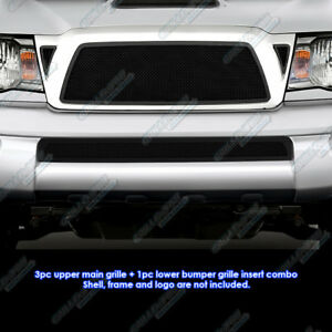 Fits 2005 2010 Toyota Tacoma Black Stainless Steel Mesh Grille Combo Insert