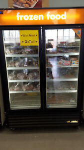 Commercial True 2 Door Glass Freezer Excellent Condition