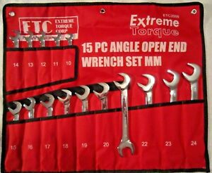 Metric Open End Angle 15 Wrench Set Extreme Torque Etc 4 way Open End Vanadium