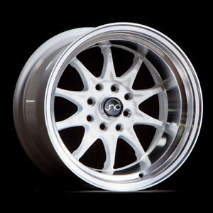 15x8 Jnc 003 Jnc003 4x100 4x114 3 0 White Machine Lip Wheel New Set 4