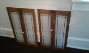 Beautiful Antique Vtg 2 Pairs Glass Wood Cabinet Doors