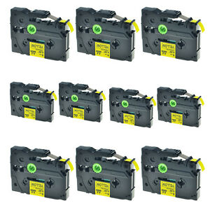 10pk Black On Yellow Tz621 Tze621 Label Tape For Brother P touch Pt 1890sc 0 35