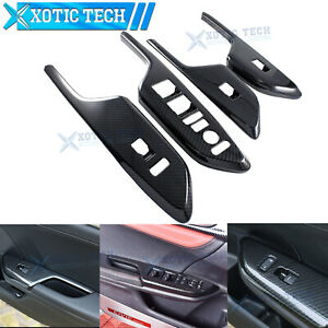 Carbon Fiber Style Door Window Lock Switch Lift Inner Trim For Honda Civic 16 20