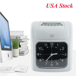 Employee Attendance Punch Time Clock Payroll Recorder Lcd Display W Free Card