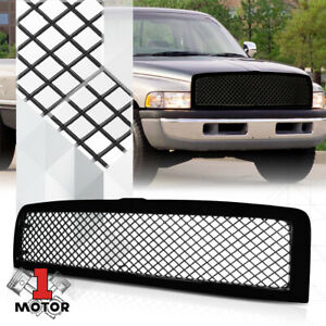 Glossy Black Abs Classic Mesh Front Bumper Grille Grill For 94 02 Dodge Ram 1500