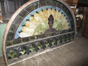 Vintage Huge Arched Stained Glass Window