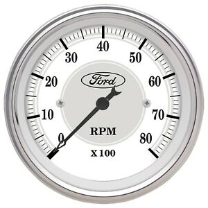 Autometer 880088 Ford Masterpiece In Dash Tachometer White Dial Face 3 1 8