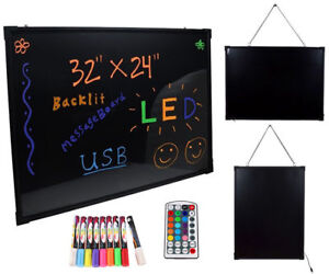 32 x 24 Flashing Colorful Erasable Neon Led Message Menu Diy Writing Sign Board
