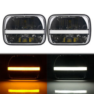 2pc 5x7 Led Headlight Halo Drl Turn Signal For Jeep Yj Cherokee Xj Comanche Mj