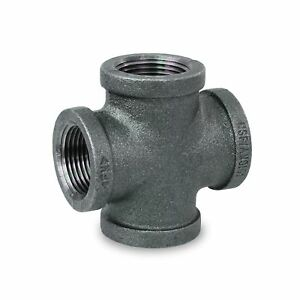 Everflow Supplies Bmcr0400 Black Malleable Cross Fitting 4 4 Inch New