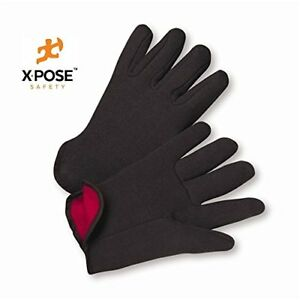 Brown Jersey Cotton Work Gloves With Red Fleece Lining Large 12 Pk