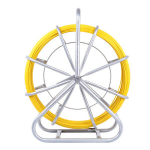 6mm 130m Fish Tape Fiberglass Wire Cable Running Rod Duct Rodder Puller Yellow