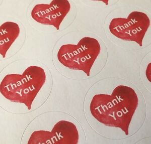 Thank You With Heart Envelope Seals Labels Stickers 1 Round