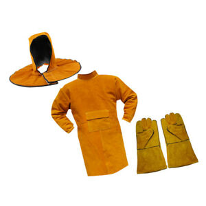 1 Set Cowhide Leather Protective Apron Apparel Welding Helmet pair Gloves