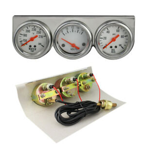 Safty Universal 50mm White Oil Pressure Water Volt Triple 3 Gauge Set Gauges Kit