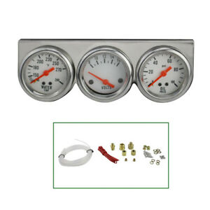 Universal Auto 50mm 2 Chrome Oil Pressure Water Volt Triple 3 Gauges Set Kit Us